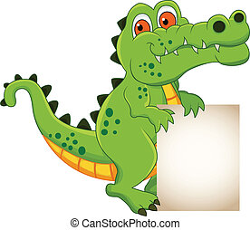 crocodile cartoon with banner - vector illustration of...