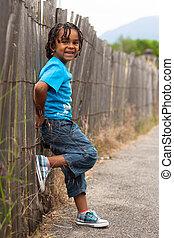 lindo, poco, niño, norteamericano, africano, retrato