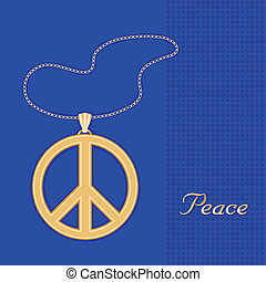 Peace Symbol Gold Necklace, Chain - Gold embossed...