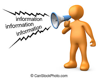 Giving Information - 3d person holding a megaphone, giving...