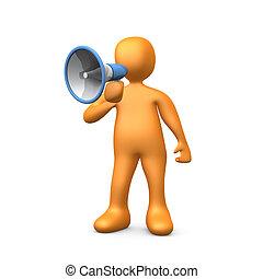 Megaphone - 3d person talking into a megaphone - bullhorn .