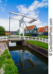 Village Marken - Beatrix bridge in the village Marken, the...