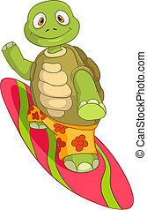 Funny Turtle Surfing - Cartoon Character Funny Turtle...
