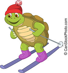 Funny Turtle Skiing - Cartoon Character Funny Turtle...