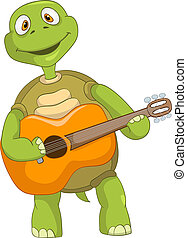 Funny Turtle Guitarist - Cartoon Character Funny Turtle...