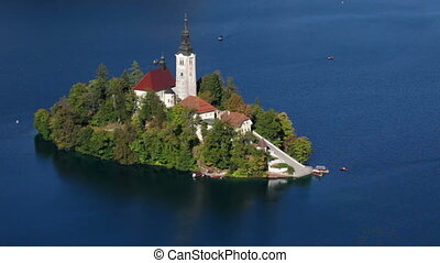 Lake Bled, Slovenia - Island on Lake Bled in Slovenia with...