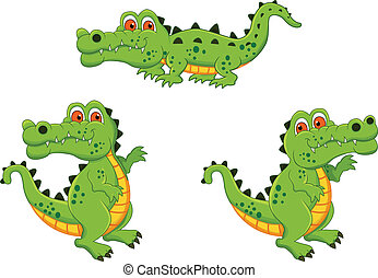 Crocodile Cartoon Characters - vector illustration of...