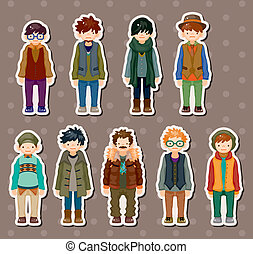 cartoon charming young man stickers