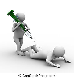 docteur, injection, patient, isolé, 3D, image