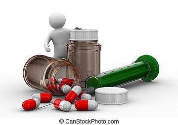 homme, bouteille, tablettes, isolé, 3D, image