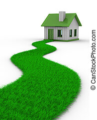 Road to house from grass. Isolated 3D image