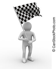 man with flag on white background. Isolated 3D image