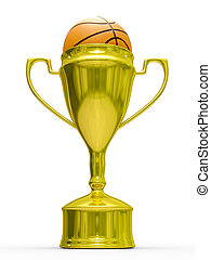 Gold cup winner with basketball ball Isolated 3D image