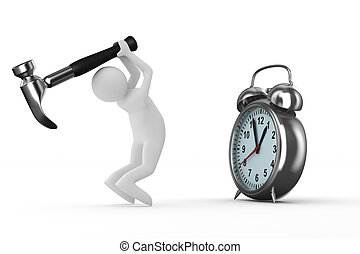 Alarm clock repair Isolated 3D image on white