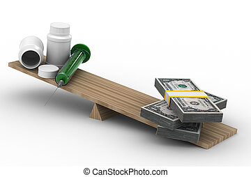 Medicine and money on scales. Isolated 3D image