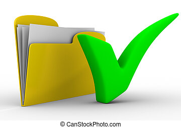Yellow computer folder on white background. Isolated 3d...