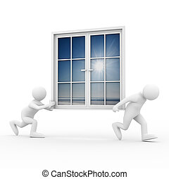 Two man carry window on white background Isolated 3D image