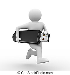 man hold usb flash. Isolated 3d image