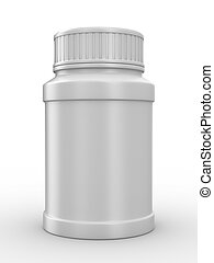 Bottle for tablets on white background Isolated 3D image
