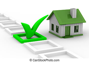 House choice on white background Isolated 3D image