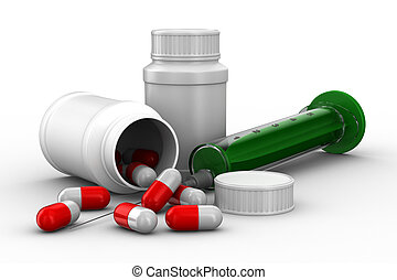 medicaments on white background Isolated 3D image