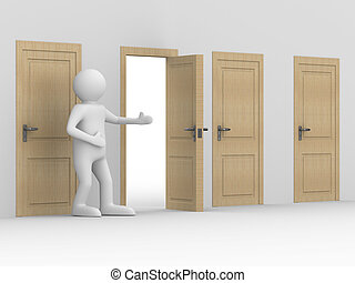 man invites to pass open door. 3D image