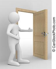 man invites to pass open door. 3D image