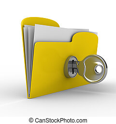 Yellow computer folder with key Isolated 3d image