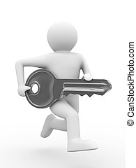 key and man on white background. 3D image