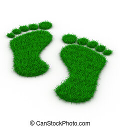 Trace foot from grass Isolated 3D image