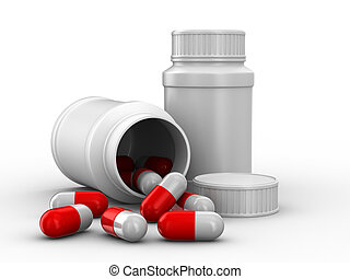Bottle for tablets on white background. Isolated 3D image