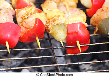 Barbecue with delicious grilled meat on grill BBQ