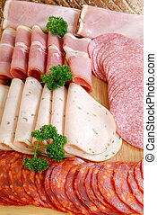 Bread meat on cutting board - Breakfast, variety of bread...