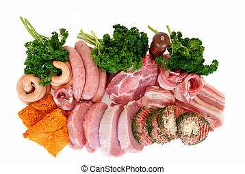 Variety of meat - Variety of pork and beef meat on white...