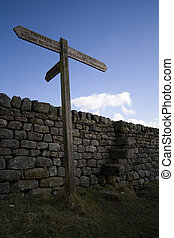Footpath sign post - Sign post at Grimwith reservoir in the...