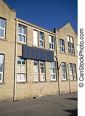 Building with Solar Panels, photovoltaic cells....