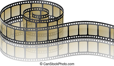 Film strip - Illustration of twisted old film strip