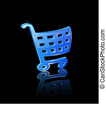 Basket icon - illustration of 3d blue basket icon on black...