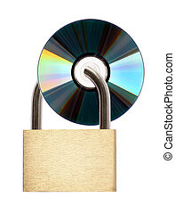 Data security - Digital data security concept. Locked CD...