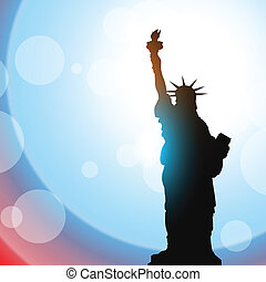 statue of liberty - stature of liberty shillouette on vector...