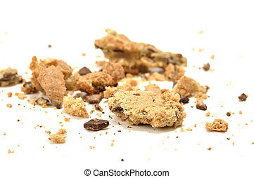 Crumbled cookie - Closeup of crumbled chocolate chip cookie...