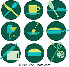 kitchenware icon set on green