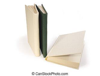 Three Books - Three hardcover books on white background