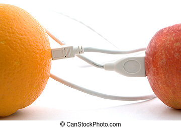 The orange and apple are connected through a cable 1