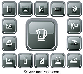Home electronics buttons - Home electronics button set