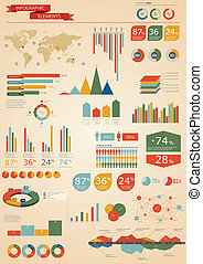 Retro infographics set World Map and Information Graphics
