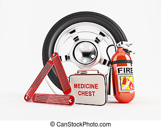 Car Emergency kit - A set consisting of a wheel, fire...