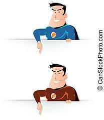 cômico, Super, herói, apontar, sinal