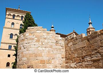 La Zuda Tower and roman walls in Zaragoza