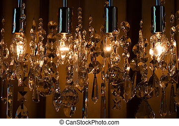 Modern chrystal chandelier close-up as abstract background
